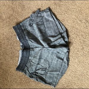 Gray elastic waist shorts